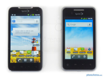 The LG Optimus Elite (right, bottom) and the LG Viper 4G LTE (left, top) - LG Optimus Elite Review