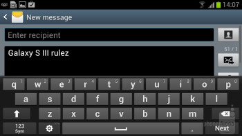 The on-screen keyboard of the Samsung Galaxy S III - Sony Xperia ion vs Samsung Galaxy S III