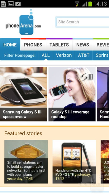 The web browser of the Samsung Galaxy S III - Nokia Lumia 920 vs Samsung Galaxy S III