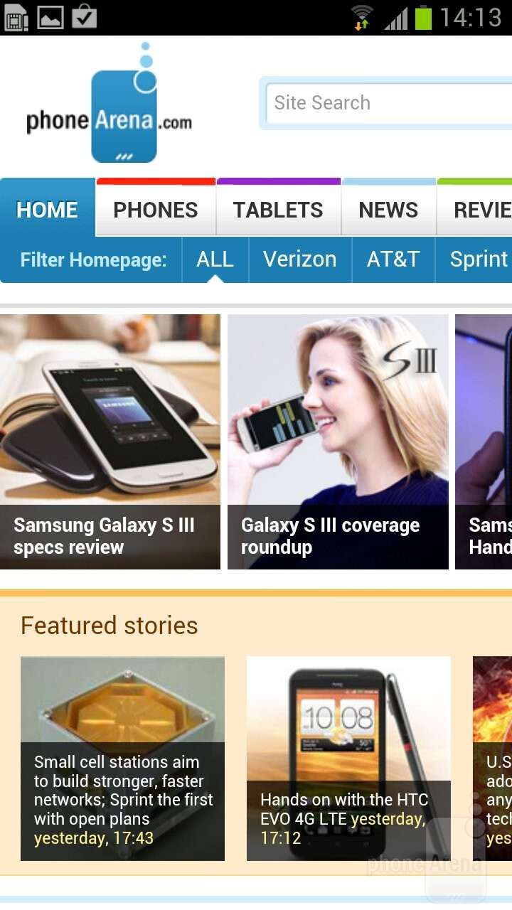 The Samsung Galaxy S III is presenting us to a brilliant web browser - HTC One vs Samsung Galaxy S III