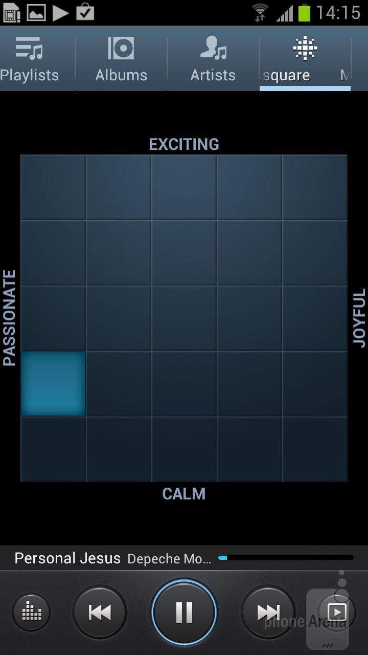 The built-in music player of the Samsung Galaxy S III - Samsung Galaxy S III vs HTC EVO 4G LTE
