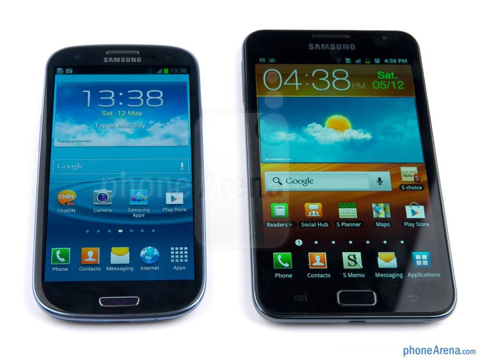 With Samsung Galaxy Note - The Samsung Galaxy S III (left) - Samsung Galaxy S III Review
