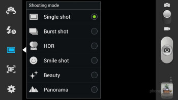 Camera interface of the Samsung Galaxy S III - Samsung Galaxy Note II vs Galaxy S III