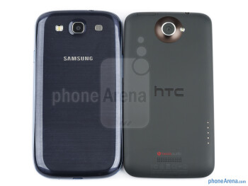 Backs - The Samsung Galaxy S III (left) and the HTC One X (right) - Samsung Galaxy S III vs HTC One X