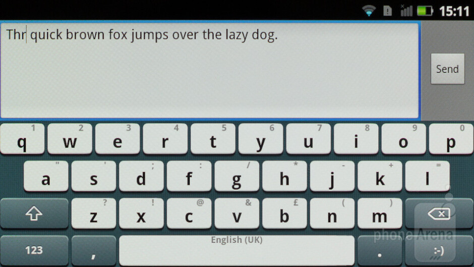 The portrait virtual keyboard is not easy to use with both thumbs - Panasonic ELUGA Review