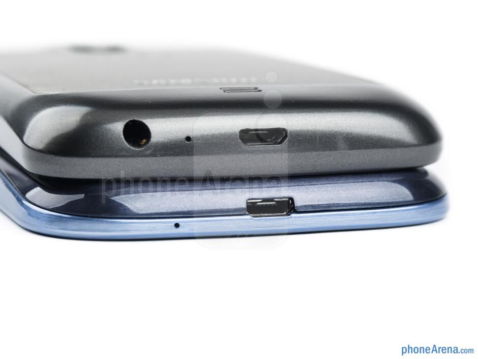 Bottom - The Galaxy S III (left and bottom) and Galaxy Nexus (right and top) - Samsung Galaxy S III vs Samsung Galaxy Nexus