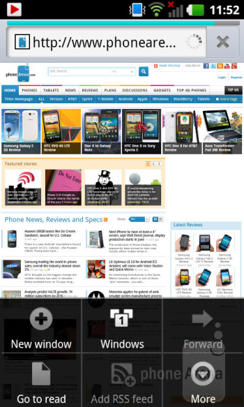 The default browser performs well on the LG Optimus 3D MAX - LG Optimus 3D MAX Review