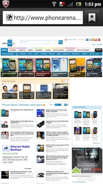 The stock web browser of the Sony Xperia sola - Sony Xperia sola Review