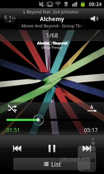 Music player - Samsung Galaxy S Advance Review
