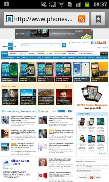 Internet browser - Samsung Galaxy S Advance Review