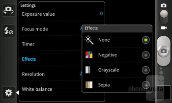 Camera interface - Samsung Galaxy S Advance Review