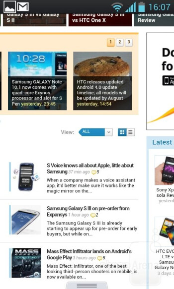 The excellent stock Android 4.0 browser is what we have on the Optimus L7 - LG Optimus L7 Review