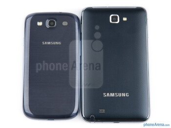 Backs - The Samsung Galaxy S III (top, left) and the Samsung Galaxy Note (bottom, right) - Samsung Galaxy S III vs Samsung Galaxy Note