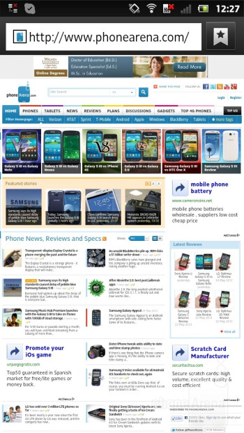 The web browser of the Sony Xperia P - Sony Xperia P Review