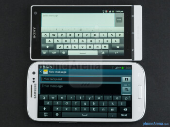 The Samsung Galaxy S III (bottom, left) and the Sony Xperia S (top, right) - Samsung Galaxy S III vs Sony Xperia S