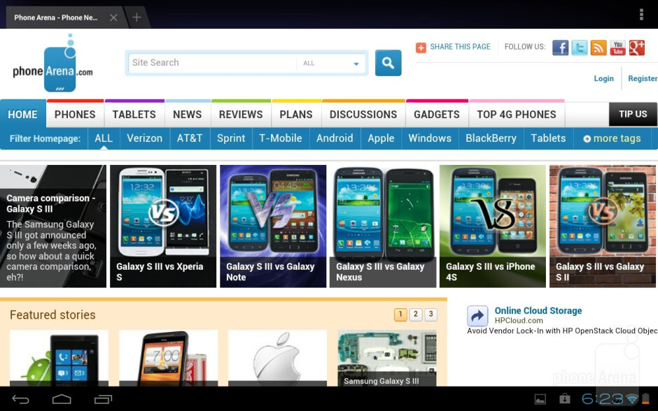 Web browsing with the Toshiba Excite 10 - Toshiba Excite 10 Review