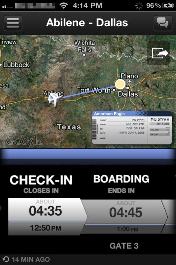 Input your details and you instantly get the flight information - App in the Air for iPhone Review