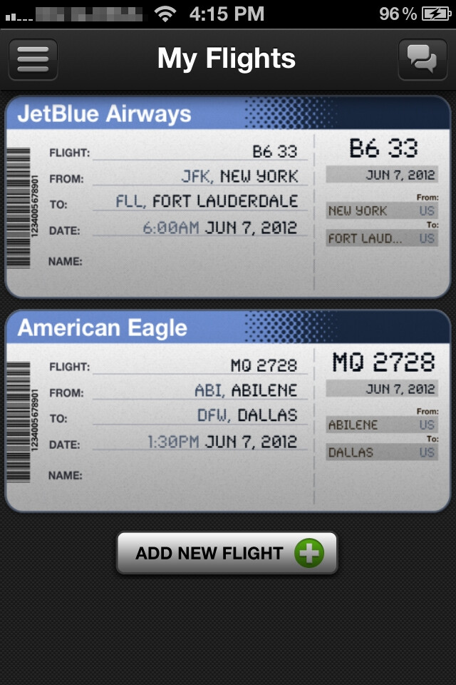 The application provides plenty of useful information - App in the Air for iPhone Review