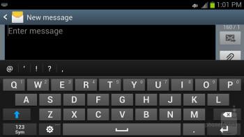 The on-screen keyboard of the Samsung Galaxy S III - Google Nexus 4 vs Samsung Galaxy S III