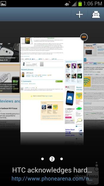 Web browser of the Samsung Galaxy S III - Google Nexus 4 vs Samsung Galaxy S III