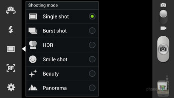 Camera interface of the Samsung Galaxy S III - HTC DROID DNA vs Samsung Galaxy S III