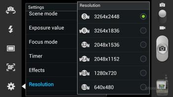 Camera interface of the Samsung Galaxy S III - Google Nexus 4 vs Samsung Galaxy S III