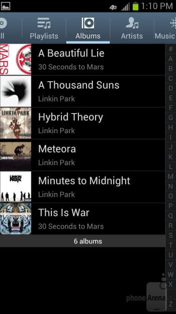 The music player of the Samsung Galaxy S III - Google Nexus 4 vs Samsung Galaxy S III