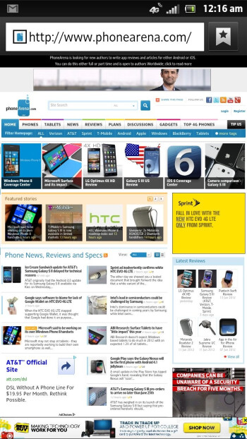 Browsing the web with Sony Xperia ion - Sony Xperia ion vs Samsung Galaxy S III