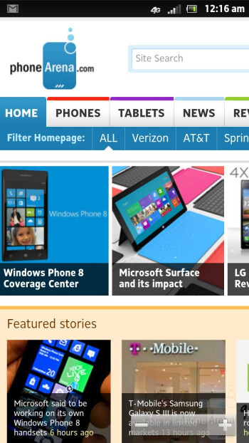 Browsing the web with Sony Xperia ion - Sony Xperia ion Review