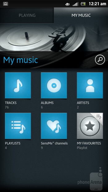 The music player has a minimalistic interface - Sony Xperia ion Review