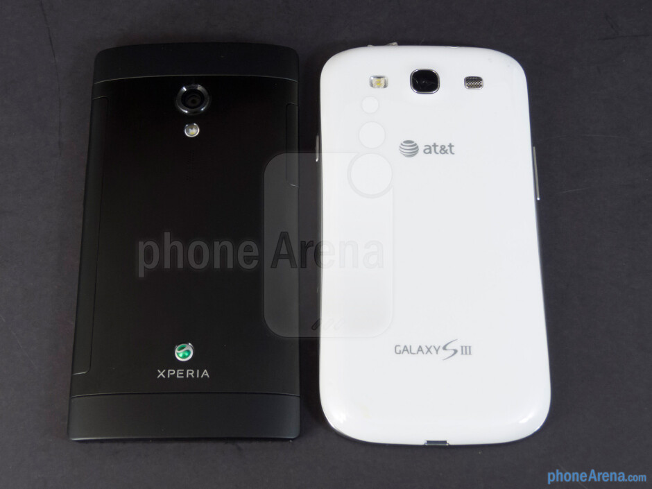 Back - The Sony Xperia ion (left, bottom) and the Samsung Galaxy S III (right, top) - Sony Xperia ion vs Samsung Galaxy S III