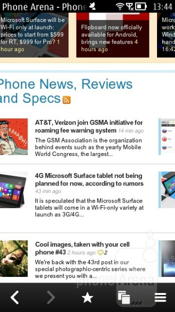 The Symbian Belle FP1 browser of the Nokia 808 PureView - Nokia 808 PureView vs Apple iPhone 4S