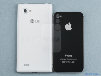 Backs - The LG Optimus 4X HD (left) and the Apple iPhone 4S (right) - LG Optimus 4X HD vs Apple iPhone 4S