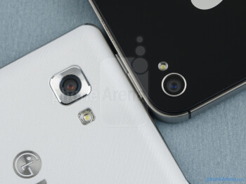 Rear cameras - The LG Optimus 4X HD (left) and the Apple iPhone 4S (right) - LG Optimus 4X HD vs Apple iPhone 4S