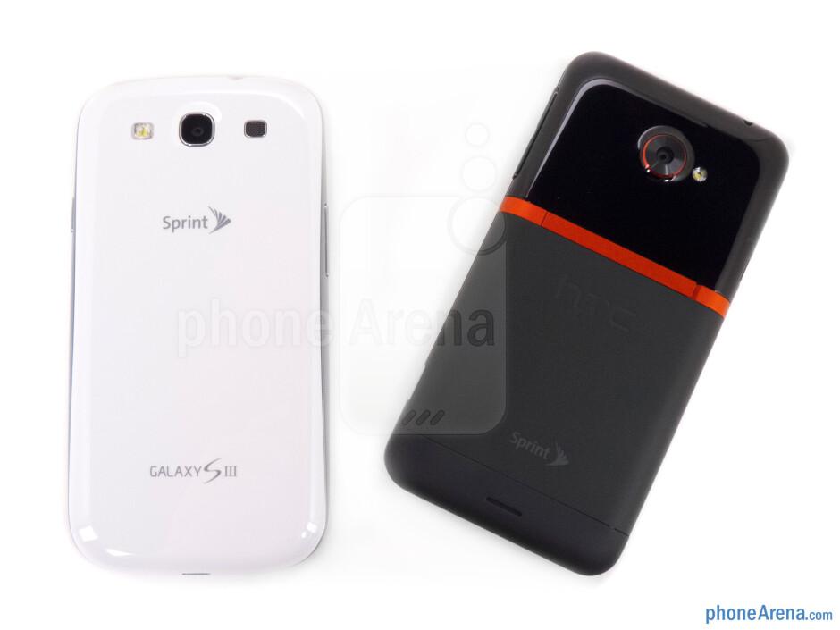 The Samsung Galaxy S III (left, bottom) and the HTC EVO 4G LTE (right, top) - Samsung Galaxy S III vs HTC EVO 4G LTE