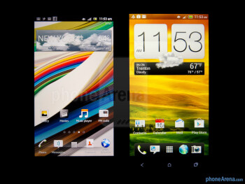 Viewing angles - The Sony Xperia ion (left) and the HTC One X (right) - Sony Xperia ion vs HTC One X