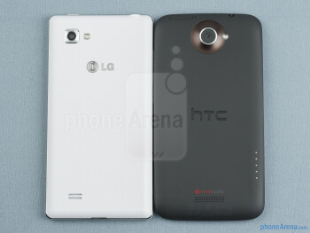 Backs - The LG Optimus 4X HD (left) and the HTC One X (right) - LG Optimus 4X HD vs HTC One X