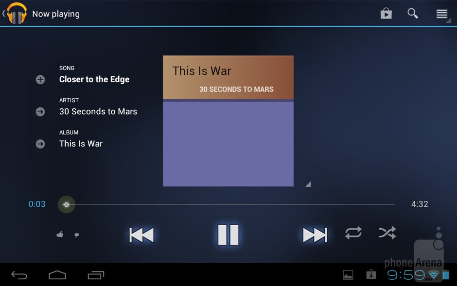 Stock music player - Toshiba's music player - Toshiba Excite 7.7 Review