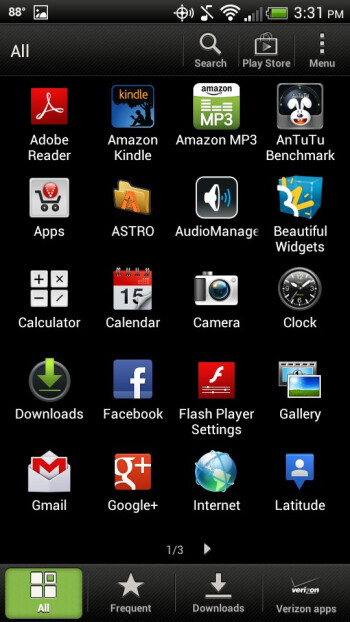 Main menu - HTC Droid Incredible 4G LTE Review