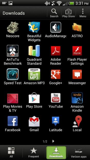 Main menu - HTC Droid Incredible 4G LTE Review