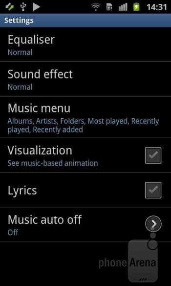 The TouchWiz music player on the Samsung Galaxy Ace 2 - Samsung Galaxy Ace 2 Review