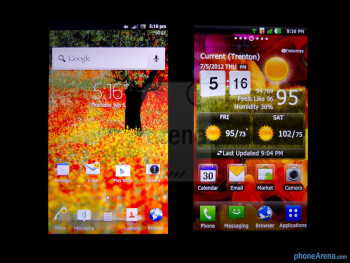 Viewing angles - The Sony Xperia ion (left) and the LG Nitro HD (right) - Sony Xperia ion vs LG Nitro HD