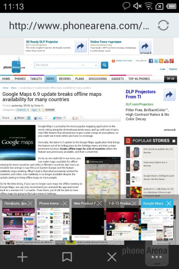 The stock web browser of the Meizu MX is fast and responsive - Meizu MX Review