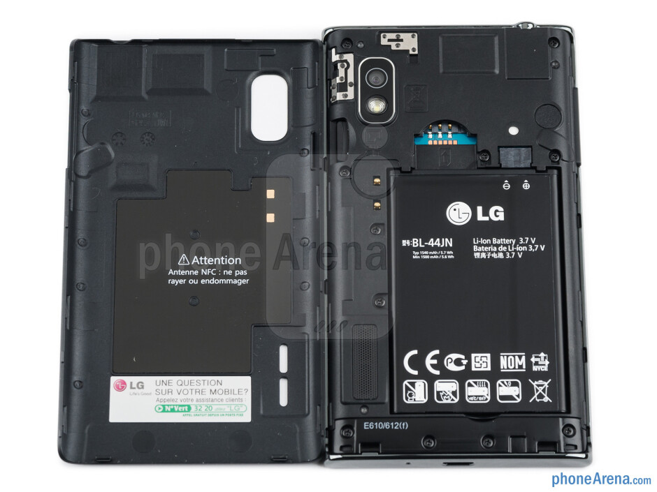 Battery compartment - LG Optimus L5 Review