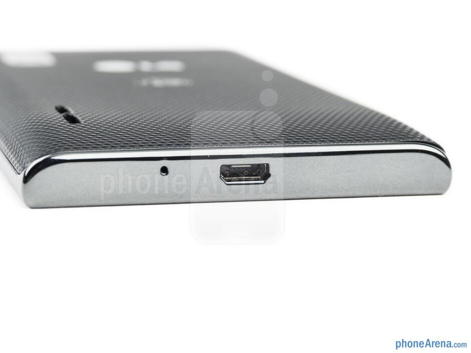 microUSB port (bottom) - The sides of the LG Optimus L5 - LG Optimus L5 Review