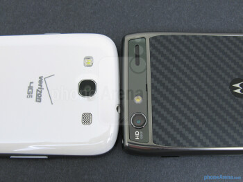 Rear cameras - The backs of the Samsung Galaxy S III (left) and the Motorola DROID RAZR MAXX (right) - Samsung Galaxy S III vs Motorola DROID RAZR MAXX