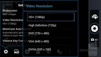Camera interface of the Motorola DROID RAZR MAXX - Samsung Galaxy S III vs Motorola DROID RAZR MAXX