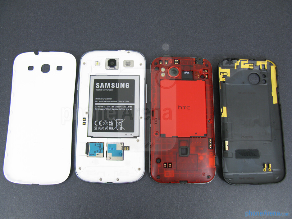 Battery compartments - The backs of the Samsung Galaxy S III (left) and the HTC Rezound (right) - Samsung Galaxy S III vs HTC Rezound