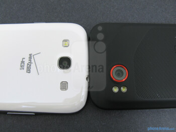 Rear cameras - The backs of the Samsung Galaxy S III (left) and the HTC Rezound (right) - Samsung Galaxy S III vs HTC Rezound