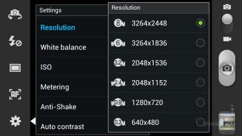 Camera interface of the Samsung Galaxy S III - Samsung Galaxy S III vs HTC Rezound